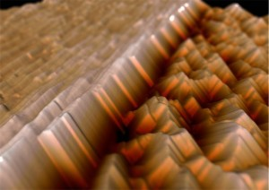 AFM showing two grains of copper indium diselenide.